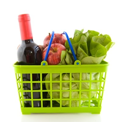 Green grocery basket